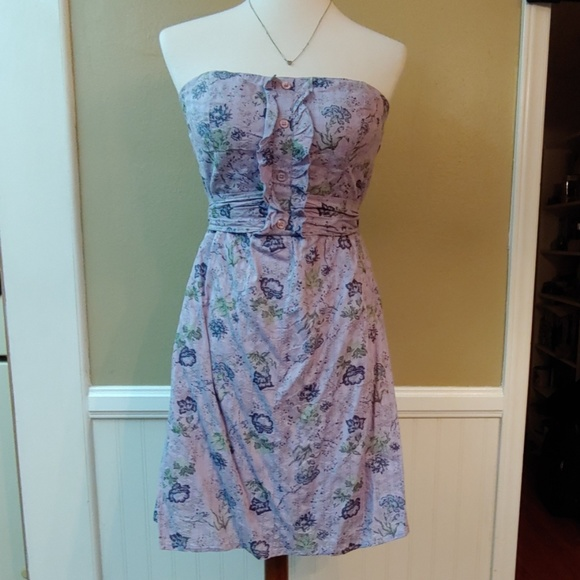 Charlotte Russe Dresses & Skirts - CHARLOTTE RUSSE STRAPLESS MIDI DRESS PURLE FLORAL